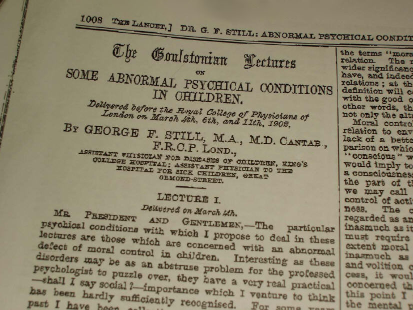 The Lancet, Sir 1902 George F Still